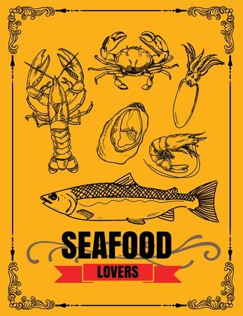 promote: Vector vintage seafood restaurant illustration. Hand drawn banner. Great for menu, banner, flyer, card, seafood business promote. Illustration
