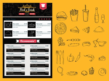 Restaurant Menu Alimentos formato Diseño vectorial