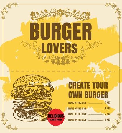 Restaurant Fast Foods menu burger on chalkboard vector format 向量圖像