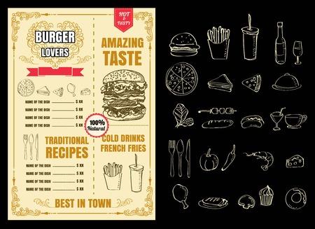 Restaurant Fast Foods menu burger vector format