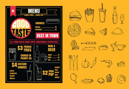 Restaurant menu design elements with chalk drawn food and drink icons line on blackboard vector