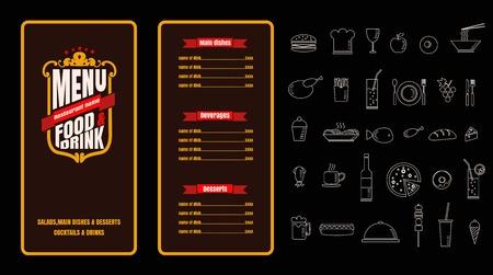 Restaurant Food Menu Vintage Design with Chalkboard Background vector Ilustrace