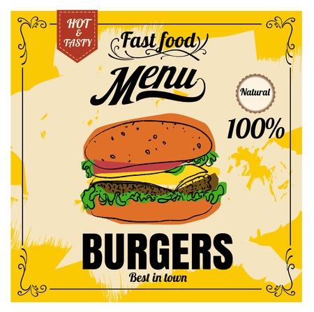 Restaurant Fast Foods menu burger on chalkboard vector 向量圖像