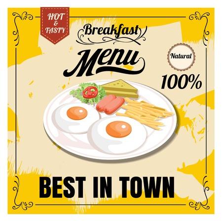 Vintage Poster. Breakfast menu. Set on the chalkboard.Design in retro style 向量圖像
