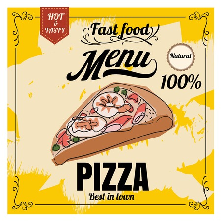 Restaurant Fast Foods menu pizza on chalkboard vector 向量圖像