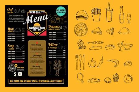 Restaurante menú de comida Diseño de la vendimia con la pizarra del vector Fondo