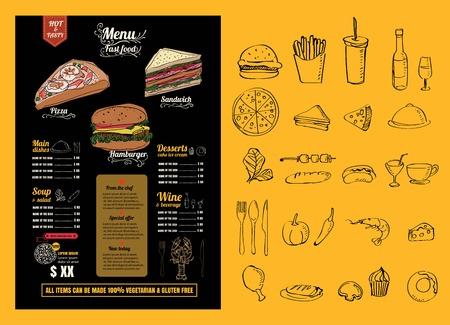 Restaurant Fast Foods menu on chalkboard vector 向量圖像