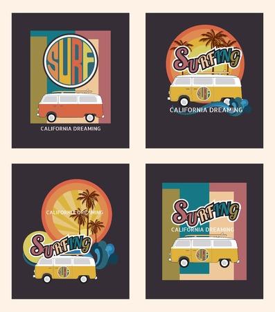 Set of California surf typography, t-shirt graphics