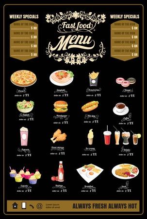 chalk board background: Restaurant Fast Foods menu on chalkboard vector Illustration