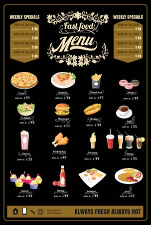 Restaurant Fast Foods menu on chalkboard vector Illustration