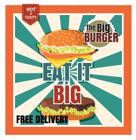 Restaurant Fast Foods menu burger on beautiful background vector
