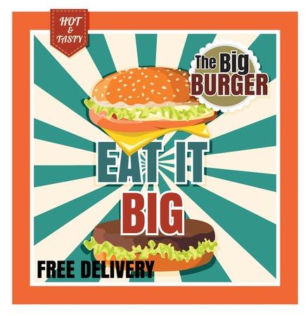 Ristorante fast food Burger menù sullo sfondo bella vettore Archivio Fotografico - 58418893