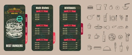 Restaurant Fast Foods menu burger on chalkboard background vector 向量圖像