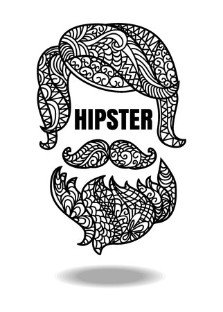 Vector of hipster. hipster man fashion on white background 向量圖像