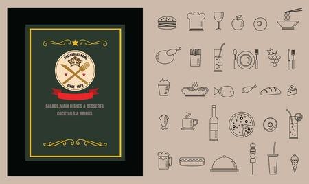 side menu: Restaurant Food menu on chalkboard vector Illustration