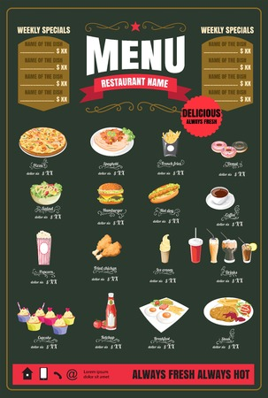 Restaurant Fast Foods menu on chalkboard vector 版權商用圖片 - 58418923