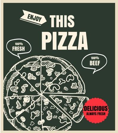 La pizza fast food menù sulla lavagna Archivio Fotografico - 58418924