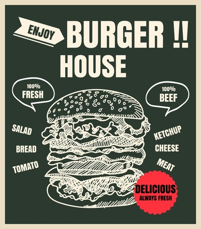 Restaurant Fast Foods menu burger on chalkboard vector Illustration