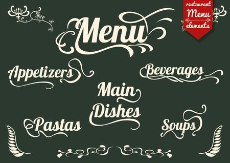 Titoli calligrafici e simboli per menu del ristorante e del design Archivio Fotografico - 58418999