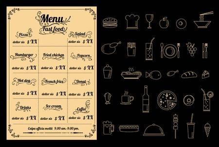 Restaurant fastfood Menu Design with Chalkboard Background vector