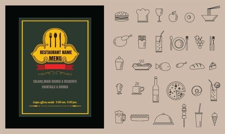 side menu: Restaurant Food menu on chalkboard vector format eps10 Illustration