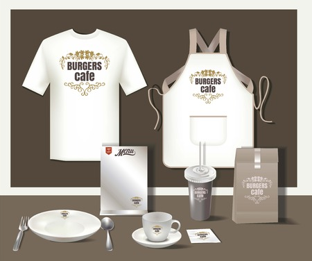 Restaurant burgers cafe set flyer, menu, package, t-shirt,cup, uniform design/ layout set of corporate identity template. 版權商用圖片 - 58419029