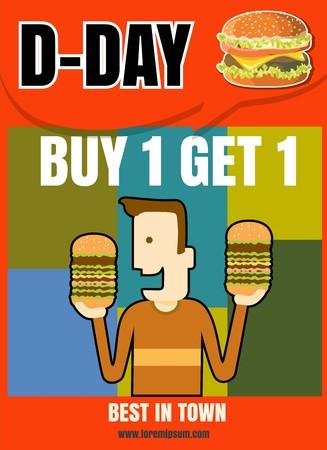 Brochure or poster Restaurant fast foods burger menu buy 1 get 1 vector 版權商用圖片 - 58419030
