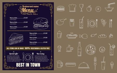 Restaurant Fast Foods menu on chalkboard 版權商用圖片 - 61077194