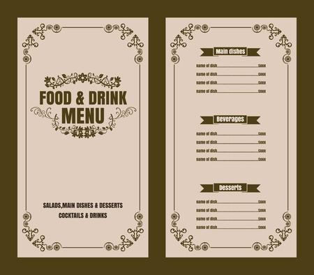 Restaurant Food Menu Vintage Typographic Design  with line icon Chalkboard Background