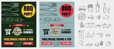 Barbecue invito a una festa. Modello di barbecue menu design. Volantino alimentare. Archivio Fotografico - 61077273