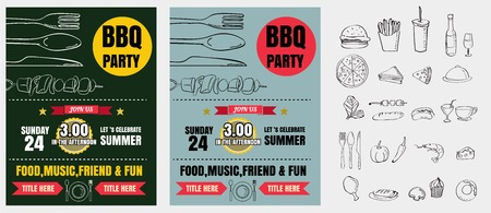 Barbecue party invitation. BBQ template menu design. Food flyer. 版權商用圖片 - 61077273