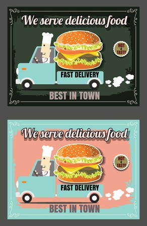 Restaurant Fast Foods menu fast delivery on chalkboard 版權商用圖片 - 61077274