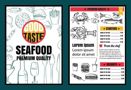Brochure or poster Restaurant  seafood menu with Chalkboard Background Ilustração