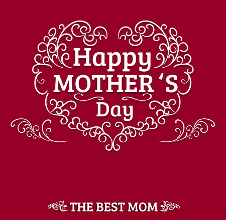 Beautiful Typographical With Hand Drawn Heart For Mothers Day