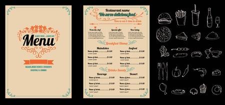 Ristorante Menu Food Design Vintage con sfondo lavagna formato vettoriale eps10 Archivio Fotografico - 61077350