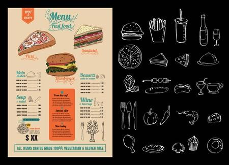 Restaurant Fast Foods menu on chalkboard