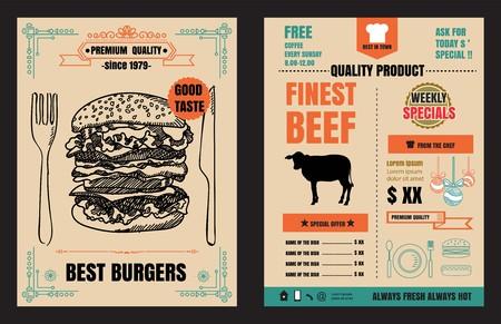 Restaurant Fast Foods menu burger on chalkboard background