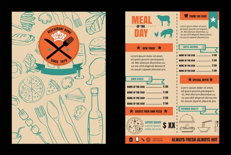 Brochure or poster Restaurant  food menu with Chalkboard Background 版權商用圖片 - 61077358