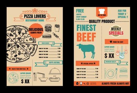 Brochure or poster Restaurant  food  pizza menu with Chalkboard Background Illustration