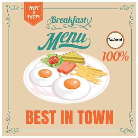 Vintage Poster. Breakfast menu. Design in retro style