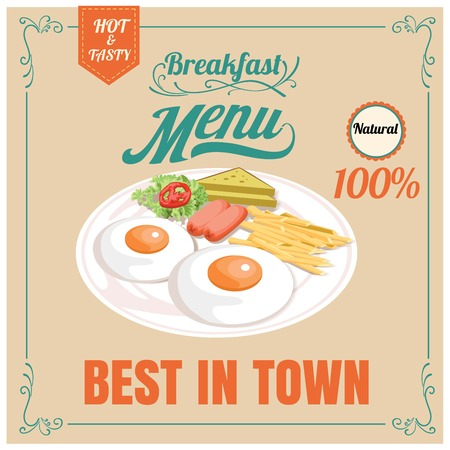 continental food: Vintage Poster. Breakfast menu. Design in retro style