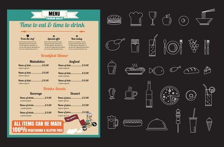 Progettazione del menu dell'alimento del ristorante con il formato eps10 di vettore di consegna veloce del fumetto Archivio Fotografico - 61077392