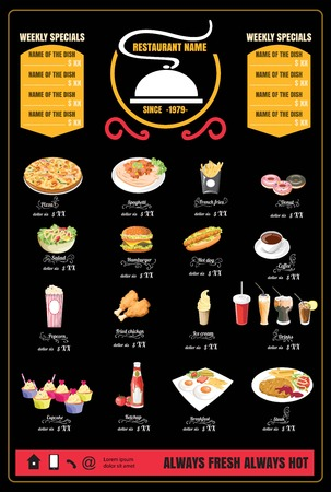 Restaurant Fast Foods menu on chalkboard 版權商用圖片 - 61077407