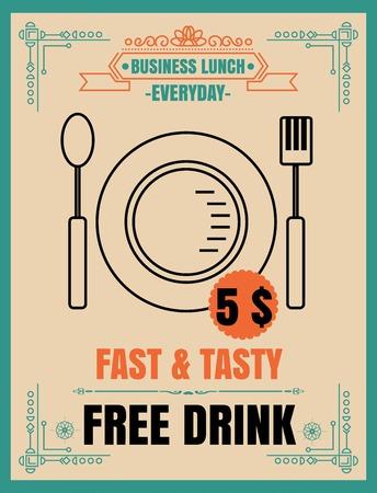 Vintage Bussiness Lunch Poster. Vector illustration