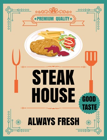 continental food: Vintage Poster.steak menu. Set on the chalkboard.Design in retro style
