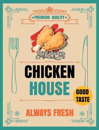 Pollo fritto retro poster in stile vintage, illustrazione vettoriale Archivio Fotografico - 66065418