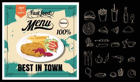 Vintage Poster.steak menu. Set on the chalkboard.Design in retro style