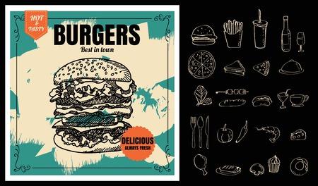 Ristorante Fast Foods menu hamburger sulla lavagna formato vettoriale eps10 Archivio Fotografico - 66065434
