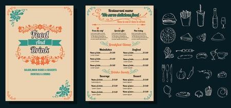 Restaurant Food Menu Vintage Design with Chalkboard Background vector format eps10 向量圖像