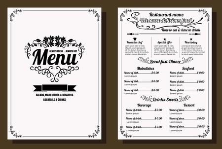 Ristorante Menu Alimentare Design Vintage con lavagna Formato vettoriale sfondo eps10 Archivio Fotografico - 68634369